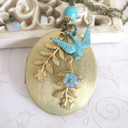 Long vintage locket necklace, bird charm, nature inspired