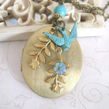 Long vintage locket necklace, bird charm, nature inspired
