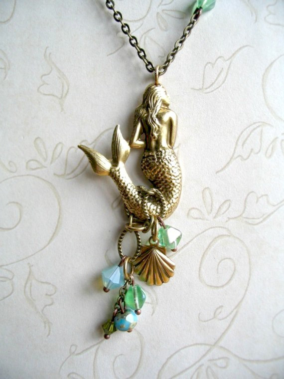 Mermaid pendant necklace, long brass chain, seashell charm