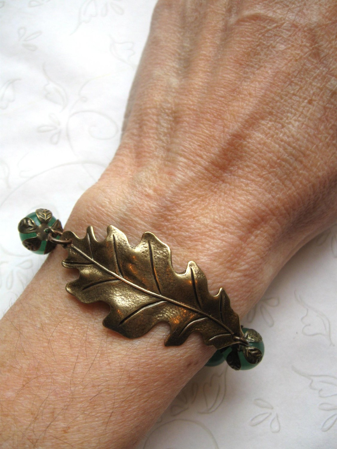 Oak leaf bracelet, green jade beads, fall jewelry