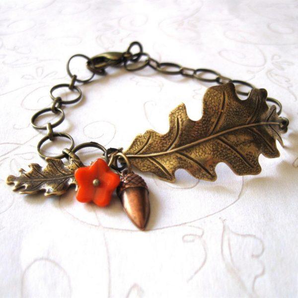 Oak leaf bracelet, nature jewelry, acorn charm