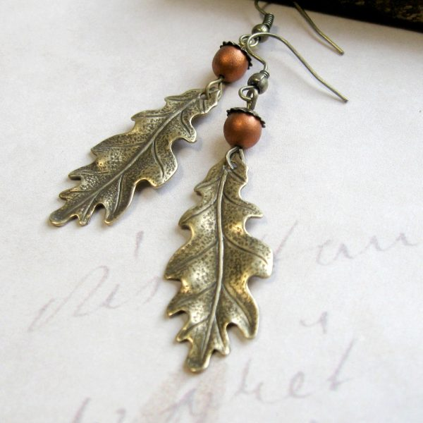 Oak leaf earrings, brass charms, fall jewelry