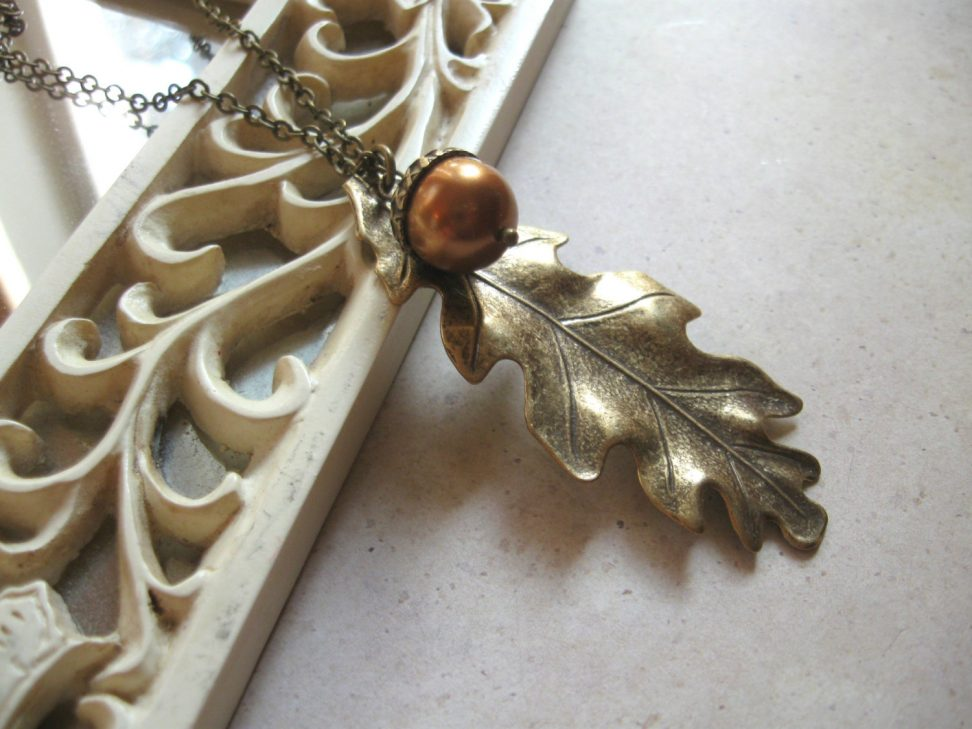 Oak leaf necklace, long brass chain, nature jewelry