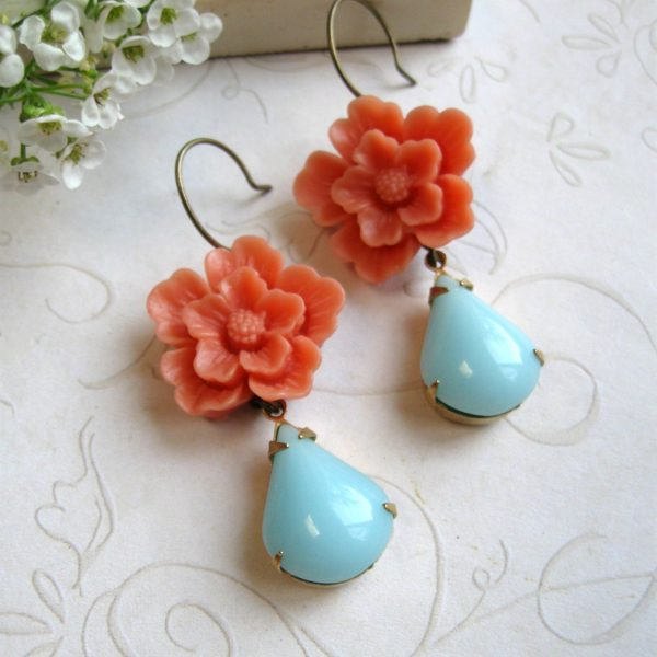 Orange flower earrings, blue glass teardrop, dangle earrings