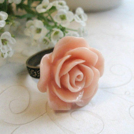 Peach rose ring, adjustable brass band