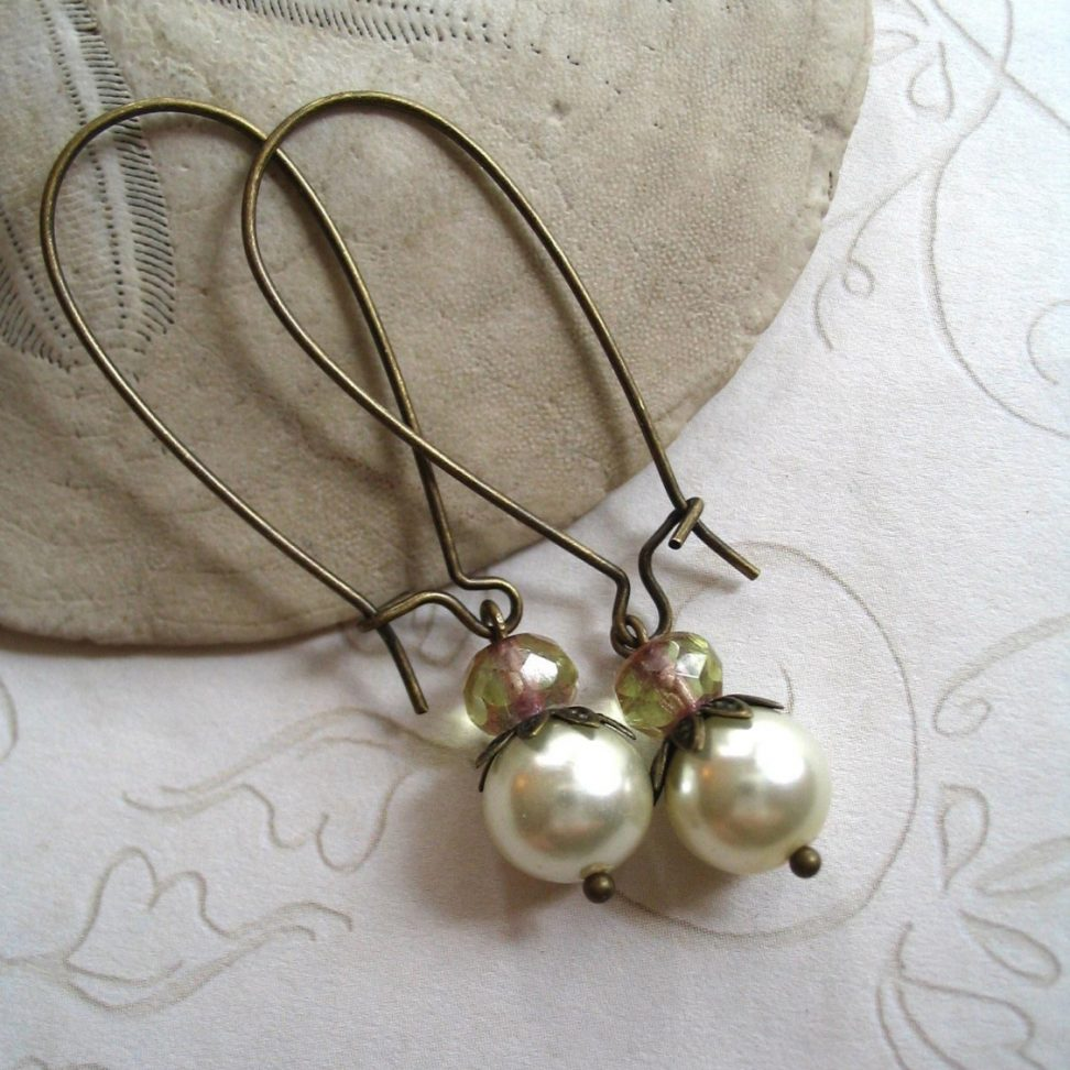 Pearl earrings, long brass ear wires