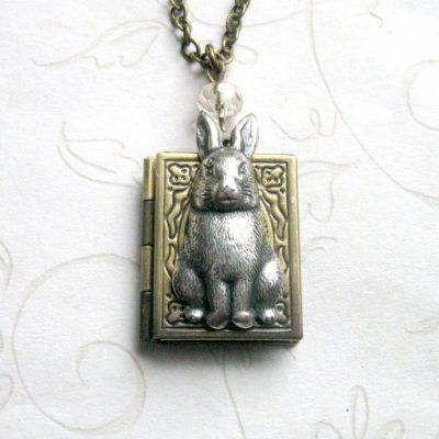 Rabbit necklace, book style locket