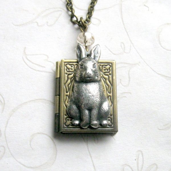 Rabbit necklace, book style locket