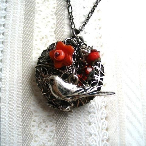 Raven locket necklace, nature jewelry