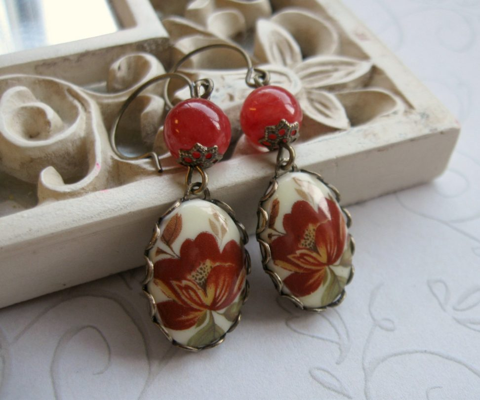 Red flower earrings, fall jewelry, brass ear wires