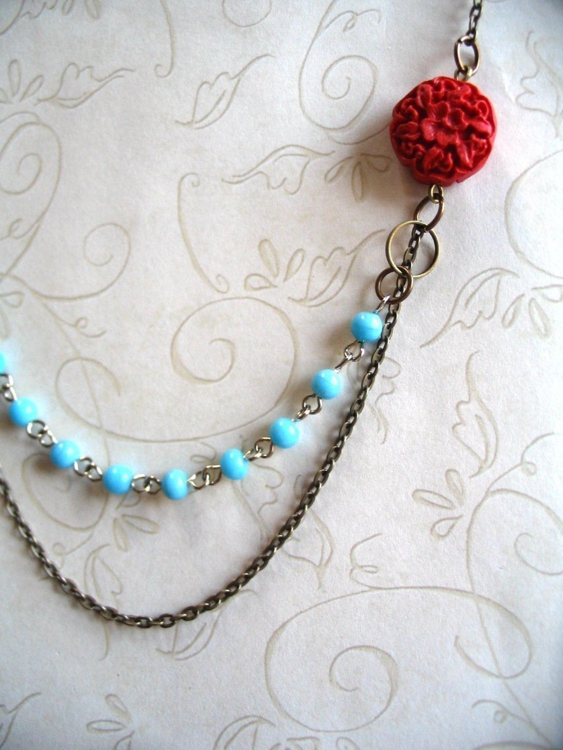 Red, white and blue necklace, vintage inspired