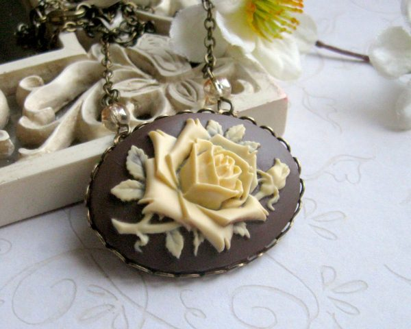 Rose cameo necklace, large pendant, chocolate brown