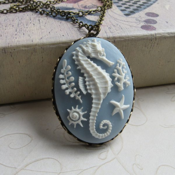Seahorse necklace, blue cameo, large pendant