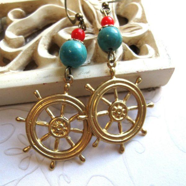 Ship wheel earrings, brass charms, turquoise beads