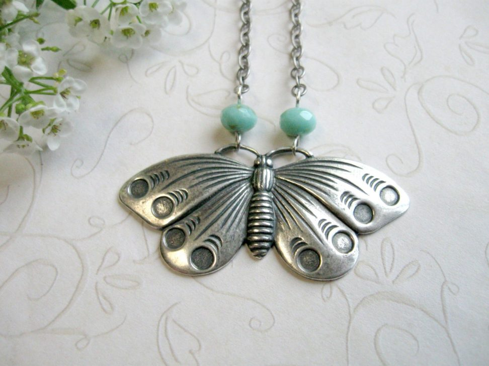 Silver butterfly necklace, vintage inspired, nature jewelry