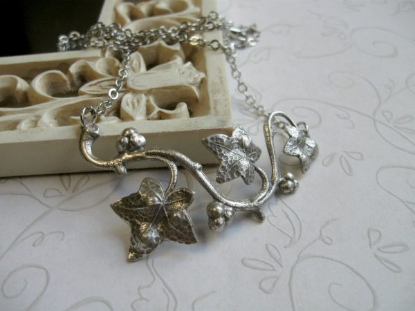 Silver ivy necklace, woodland, nature necklace
