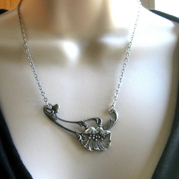 Silver poppy necklace, flower pendant, nature inspired