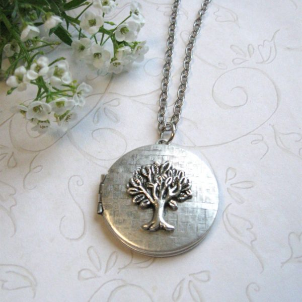 Silver tree locket necklace, vintage locket, long chain