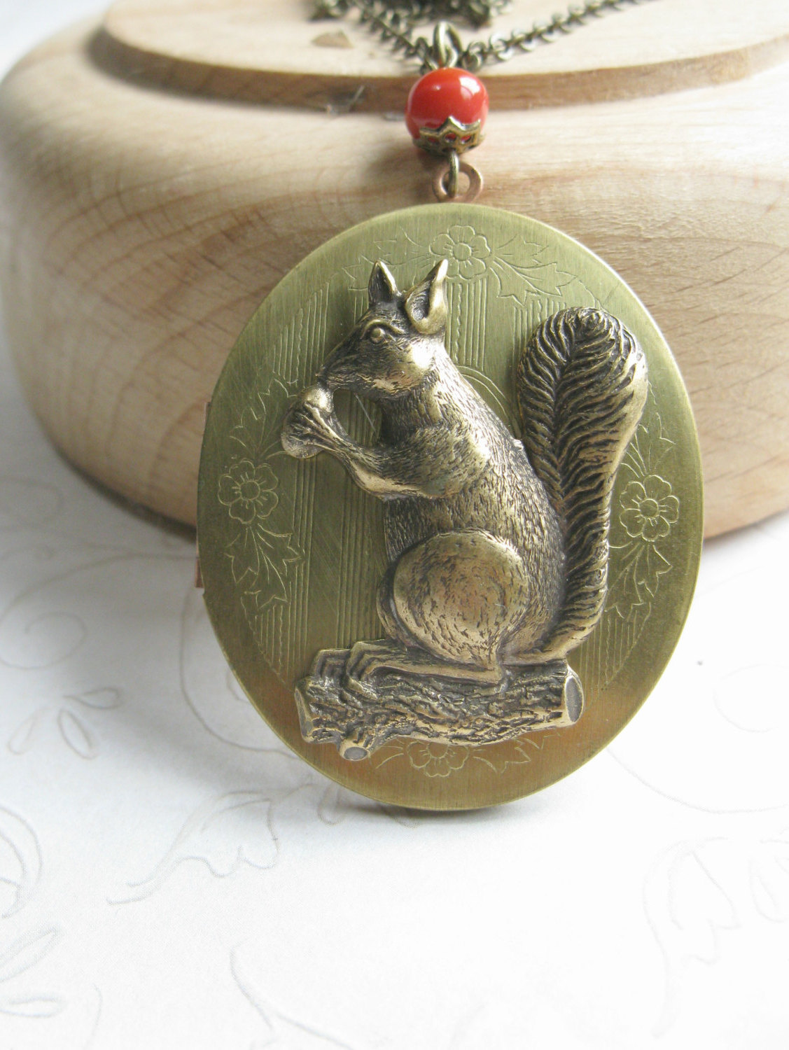 Squirrel locket necklace, long chain, vintage brass locket