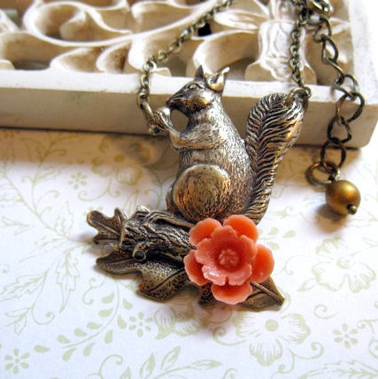 Squirrel necklace, with oak leaf, brass chain, fall jewelry