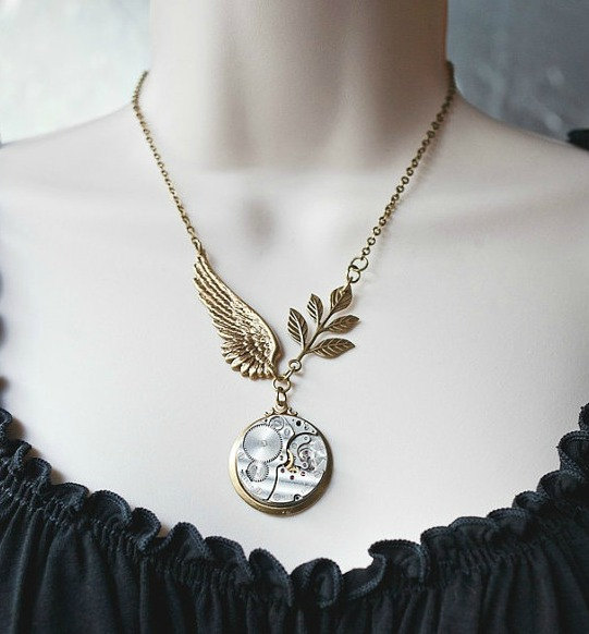 Steampunk pendant necklace, vintage watch parts, brass wing