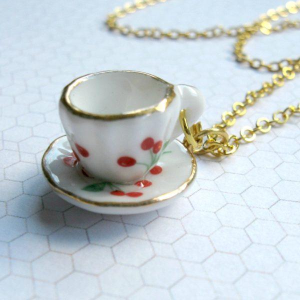Tea cup necklace, gold chain, tiny tea cup pendant