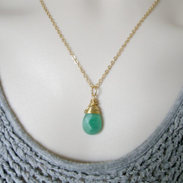 Teardrop necklace, green jade, dainty gold chain