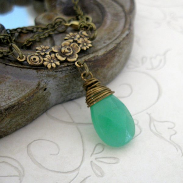 Teardrop pendant, gemstone necklace, jade necklace