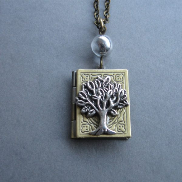 Tree of life locket necklace, book style, brass chain
