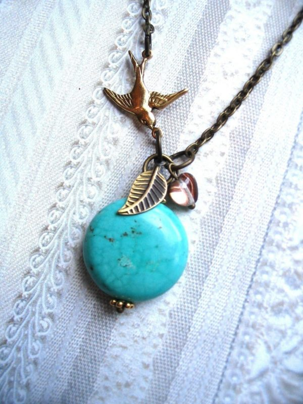 Turquoise bead necklace, brass bird charm, nature jewelry