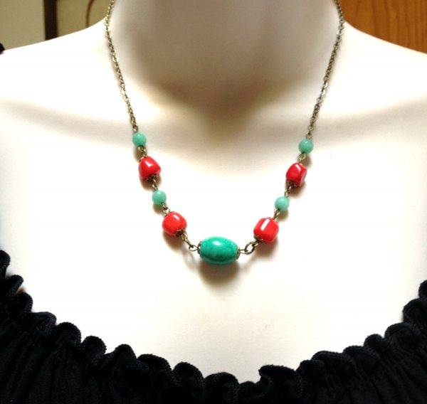 Turquoise beaded necklace, coral beads, brass chain
