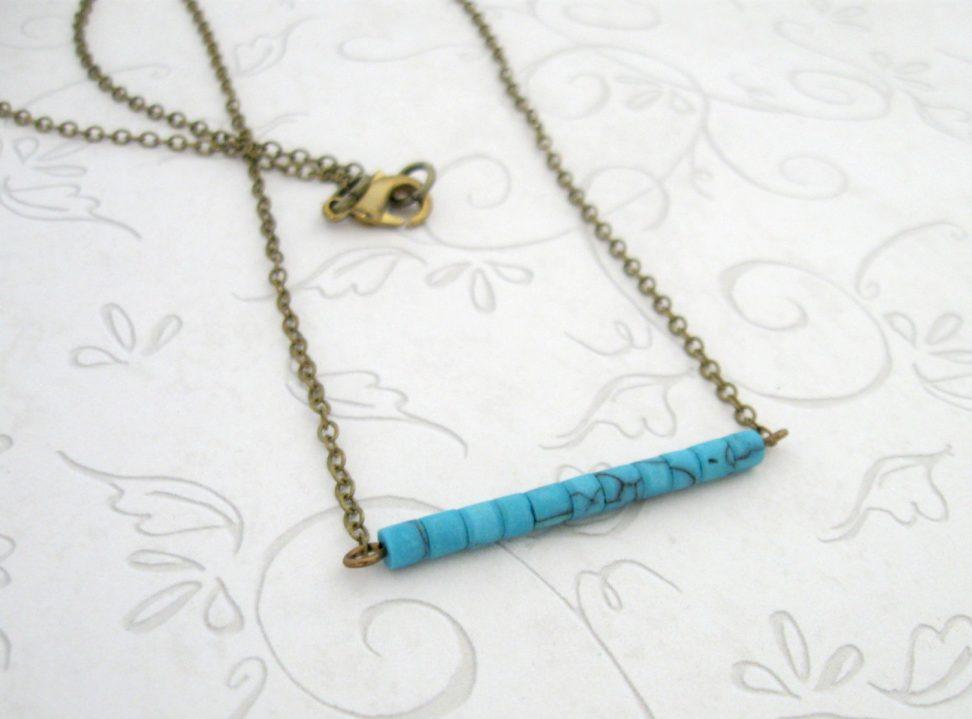 Turquoise necklace, bar necklace, minimalist jewelry