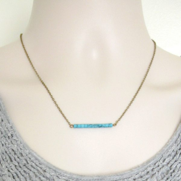 Turquoise necklace, bar necklace, minimalist jewelry