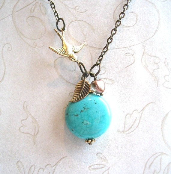 Turquoise pendant necklace, brass bird charm, dainty chain