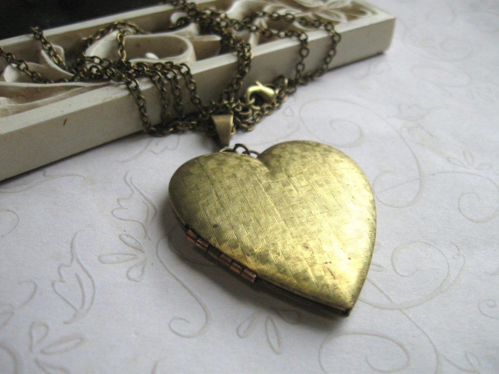 Vintage heart locket necklace, long chain, textured brass