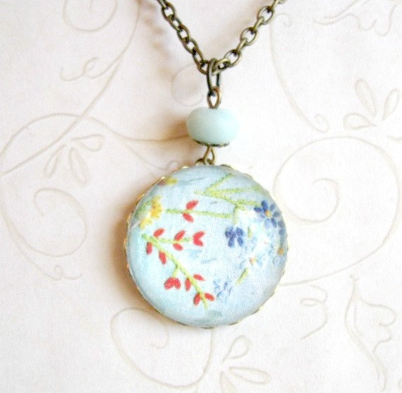 Wildflower necklace, blue glass pendant, brass chain
