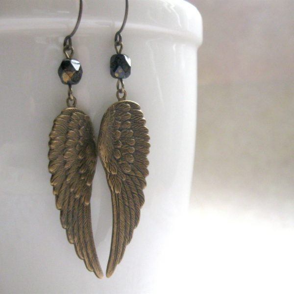 Wing earrings, long dangles, solid brass
