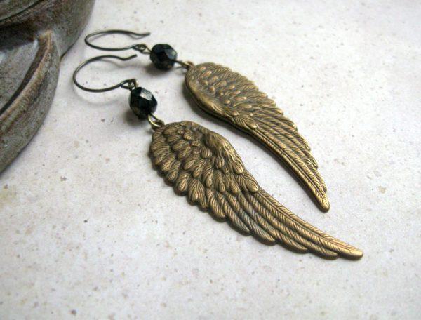 Wing earrings, long dangles, solid brass