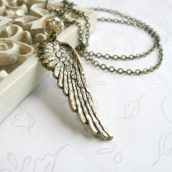 Wing pendant necklace, nature jewelry