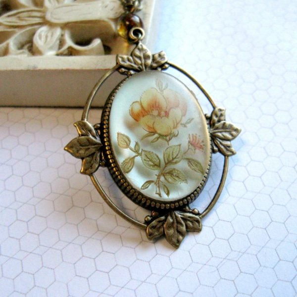 Yellow rose necklace, vintage inspired, flower pendant